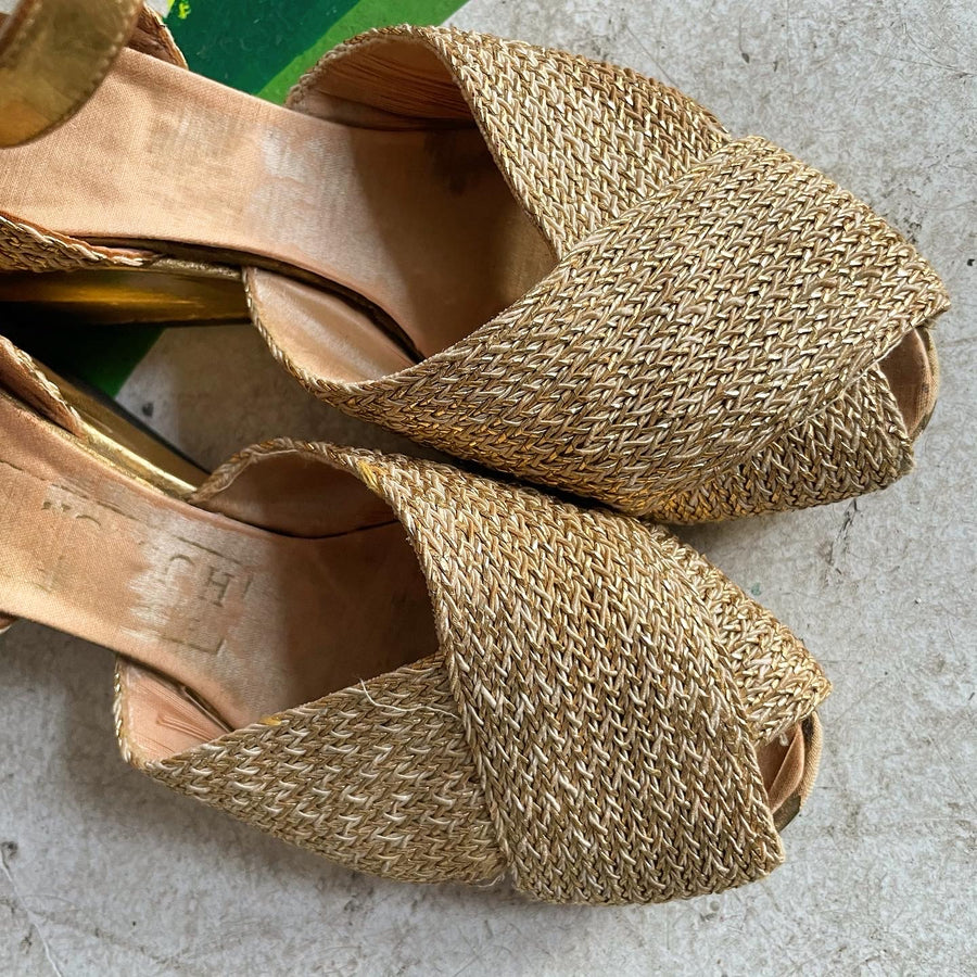 Late 30s early 40s Gold woven platform wedges