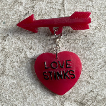 Love Stinks Handpainted Resin brooch by