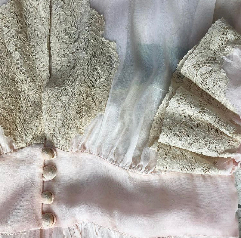 1940s Sheer Peignoir Nighty Set