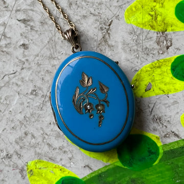 Victorian 14k gold and brilliant blue Enamel Locket