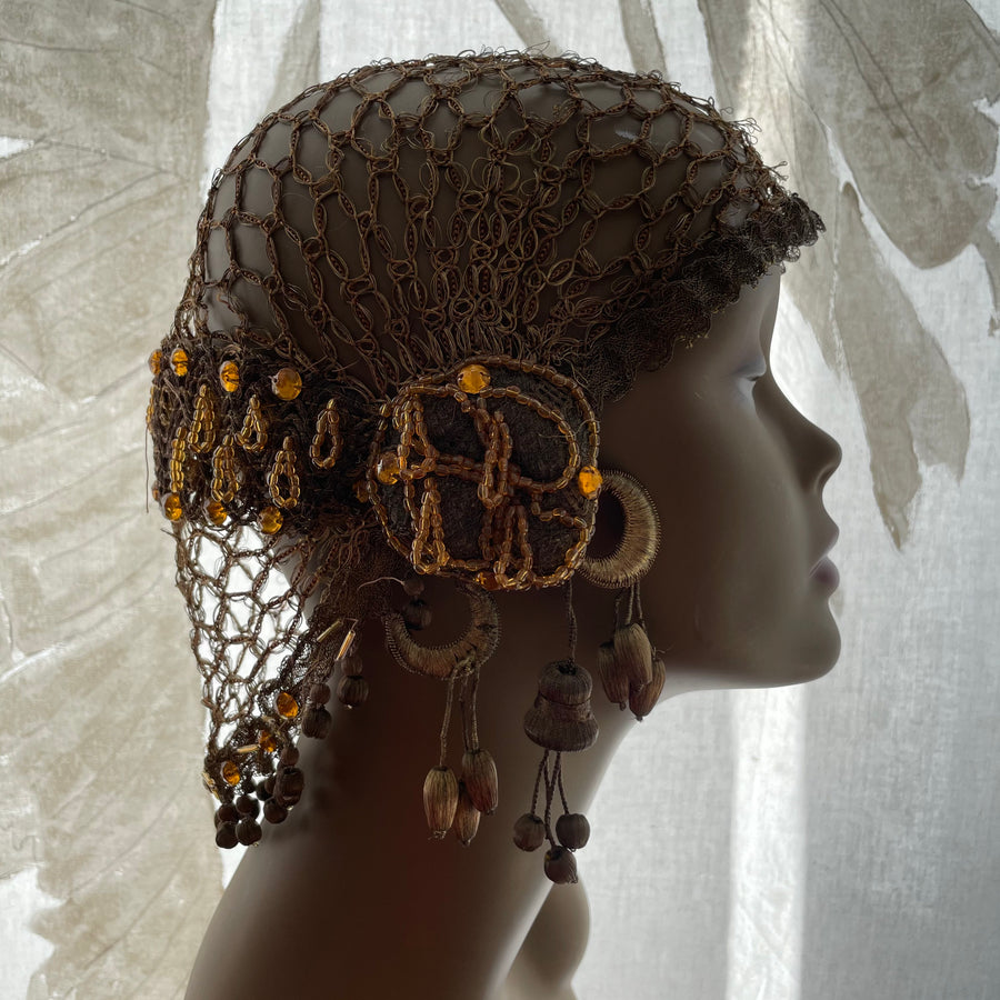 1920s bullion and glass beaded cloche hat