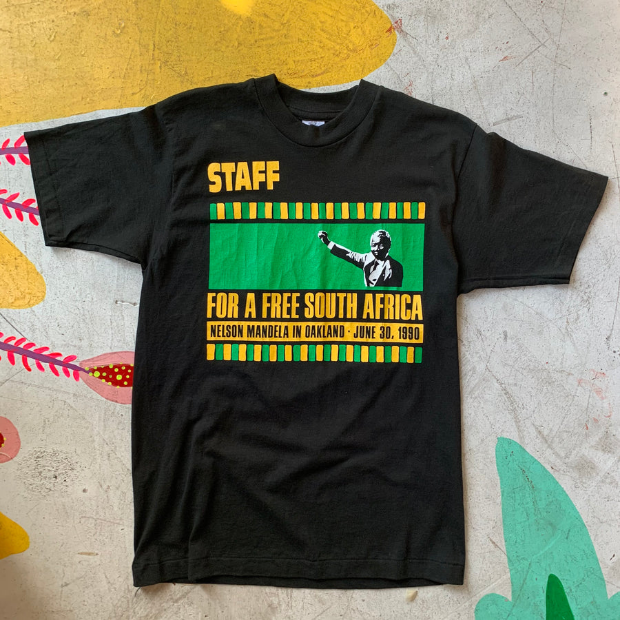 "Nelson Mandela 1990 ""Free South Africa"" staff tee from Oakland Coliseum"