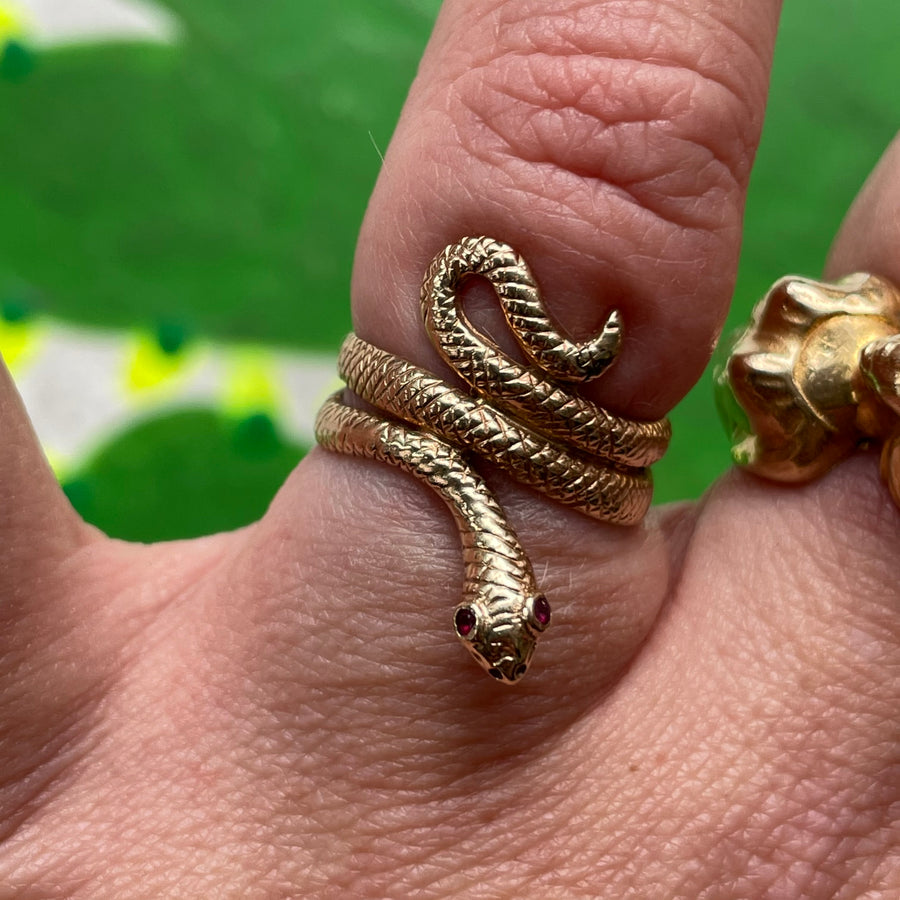 Victorian 18k gold snake with ruby eyes