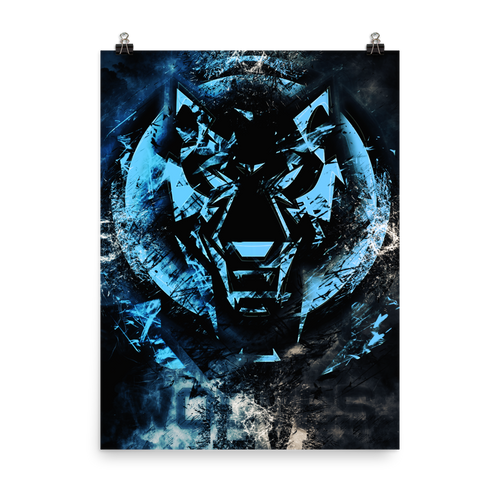 Blue Fractured Wolves Logo Poster
