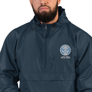 White Wolf Blue Colorway Embroidered Champion Packable Jacket