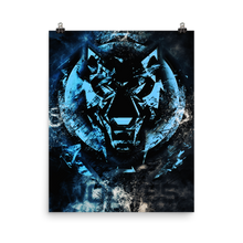 Load image into Gallery viewer, Blue Fractured Wolves Logo Poster
