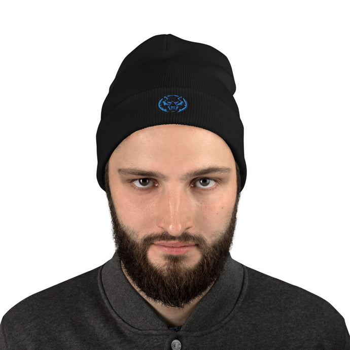 Black & Blue Embroidered Beanie
