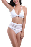 Two Pieces Padded Strap Bikinis Swimsuits for with Pompom