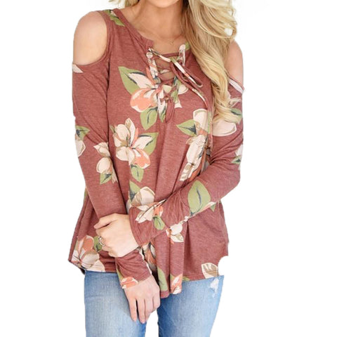 Women Slim Fit Solid Color Floral Cotton Lightweight T Shirt Off Shoulder Blouses Casual Top Long Sleeve