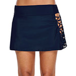 Women High Waist Hollow Out Swim Shorts Skirt