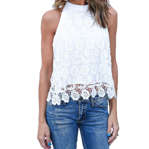 Women Cotton Lightweight Lace T Shirt Blouses Casual Slim Fit Top Sleeveless Vest Tops