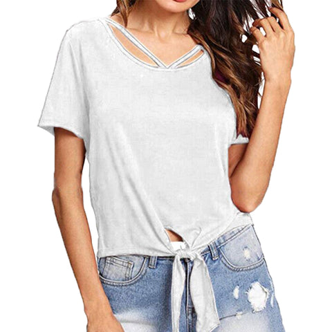 Women Soild Color T Shirt Blouses Casual Top Short Sleeve Tunic