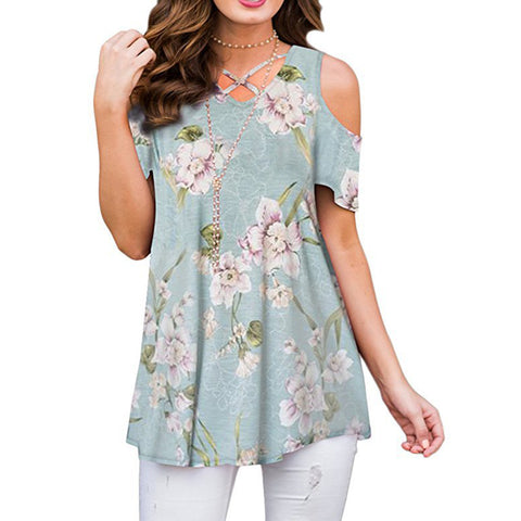 Women Loose Floral Cotton Lightweight T Shirt Blouses Casual Oversized Top Short Sleeve