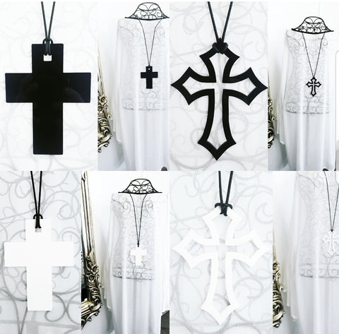 ⚜➕ Gorgeous Black White Reversible Crosses ➕⚜