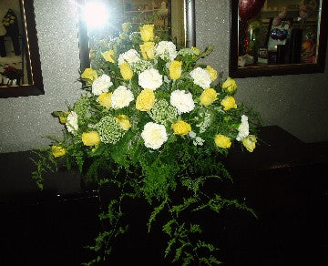 Beautiful Yellow and Cream Sideboard Arrangement