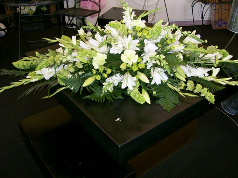 Classic Green & White Casket Spray