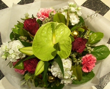Green Red and White Bouquet