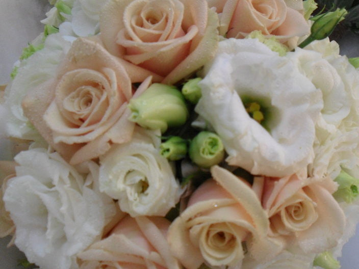 Beautiful White Lisianthus and Putty Rose Wedding Bouquet
