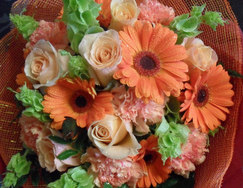 Soft Apricot and Peach Bouquet