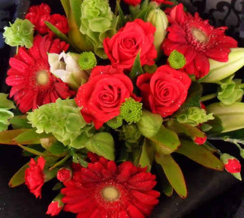 Vibrant Reds Greens and White Bouquet
