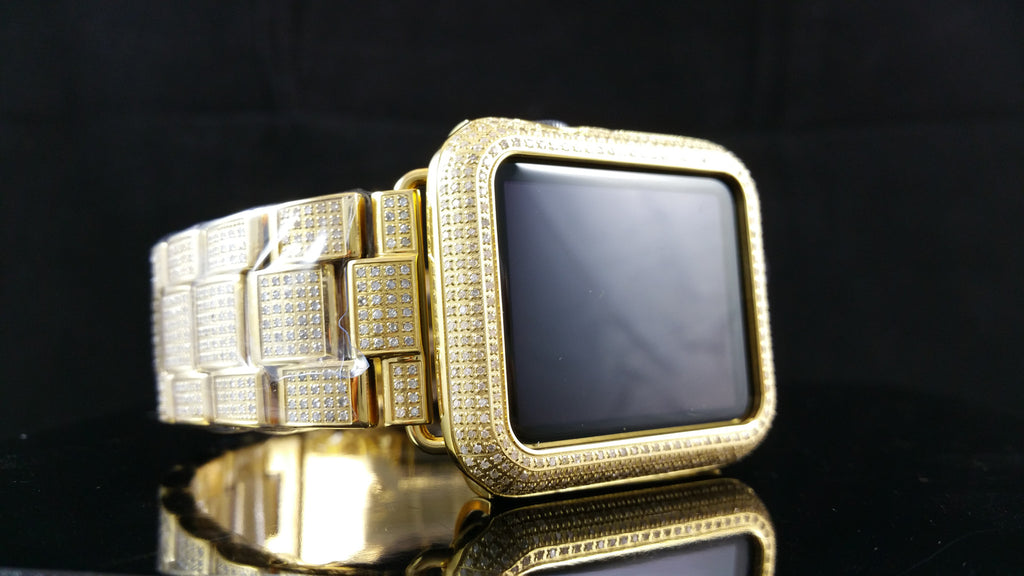 Yellow Gold Diamond Apple Watch Sport 42mm 5ctw Jain The