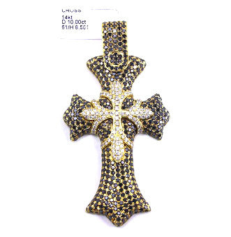 Black & White Diamond Cross 14k Yellow Gold