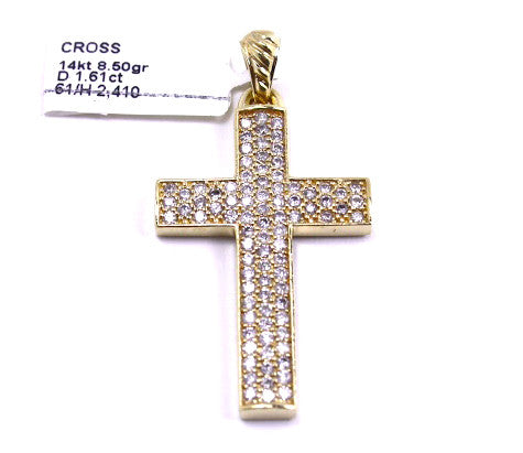 14k Yellow Gold & Diamond Cross Pendant