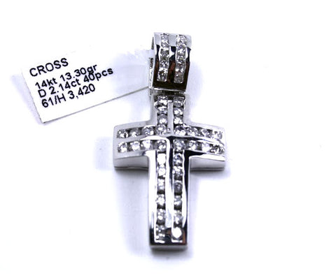 Channel Set Diamond White Gold Cross 14k