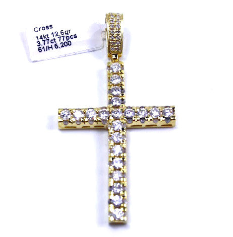 Diamond Cross Pendant 14k Yellow Gold