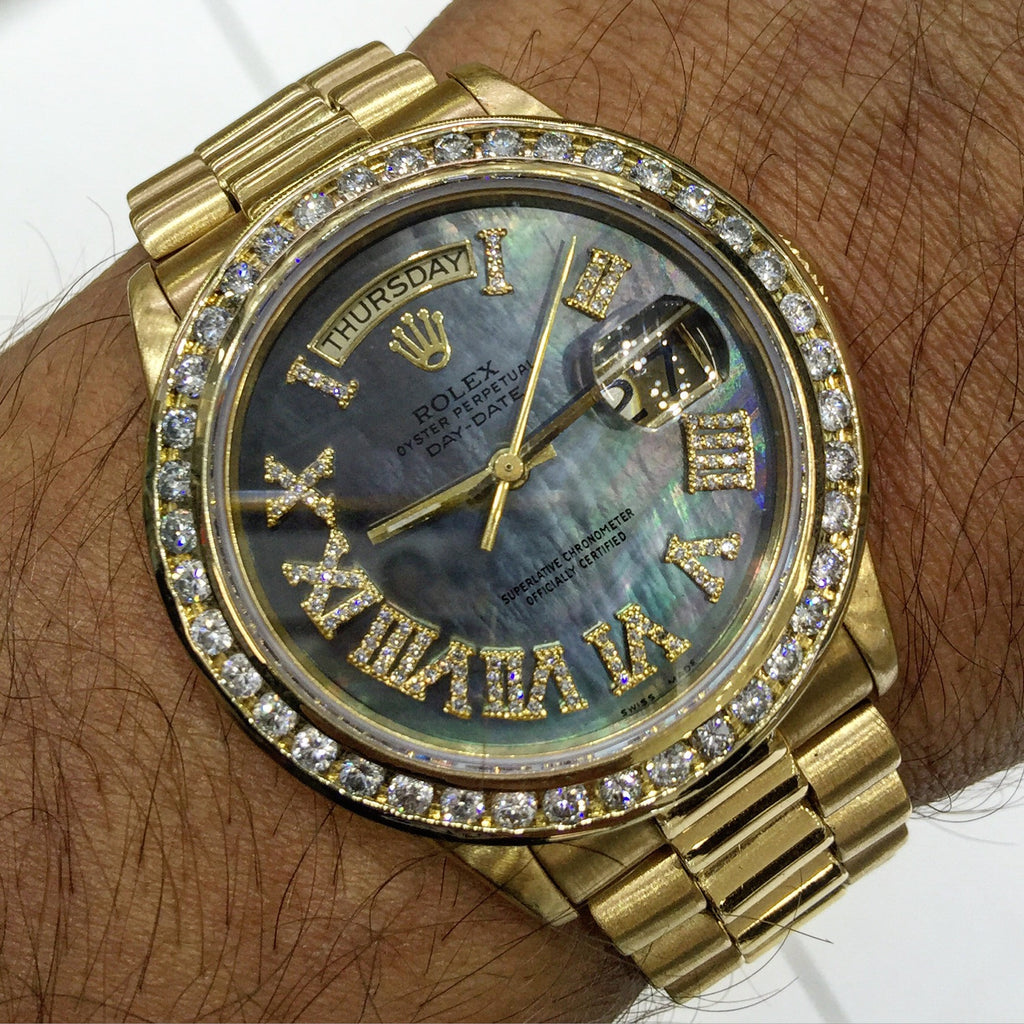 18k Rolex Day Date Black MOP Roman Numeral Diamond Dial & Diamond Bezel Watch