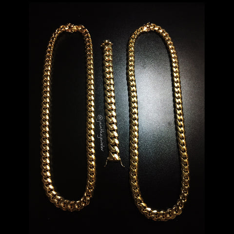 Heavy Miami Cuban Link Chain & Bracelet Set