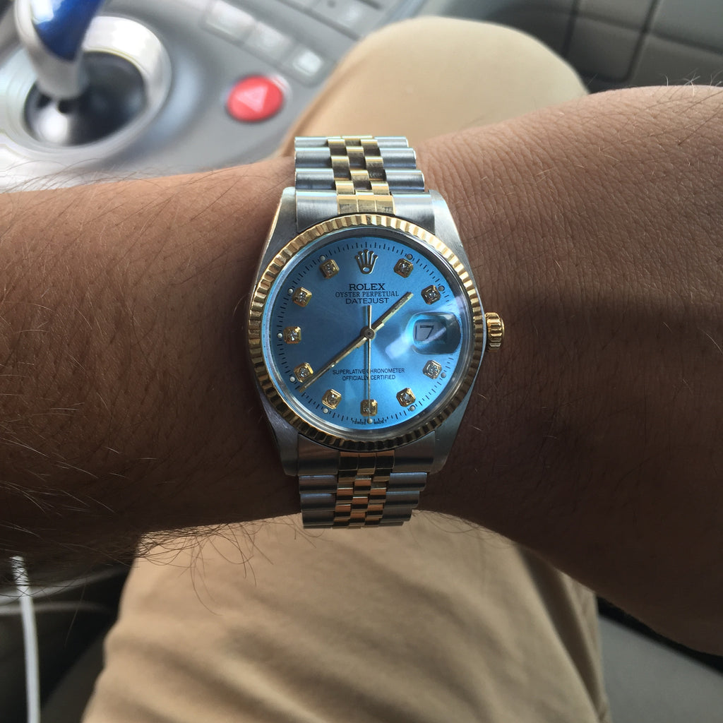 Rolex Datejust Two Tone Sky Blue Diamond Dial Jain The