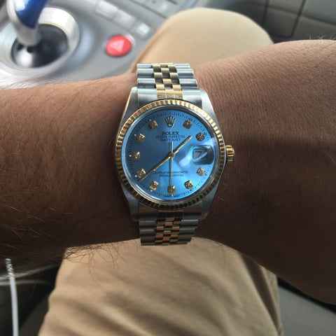 Rolex Datejust Two Tone Sky Blue Diamond Dial