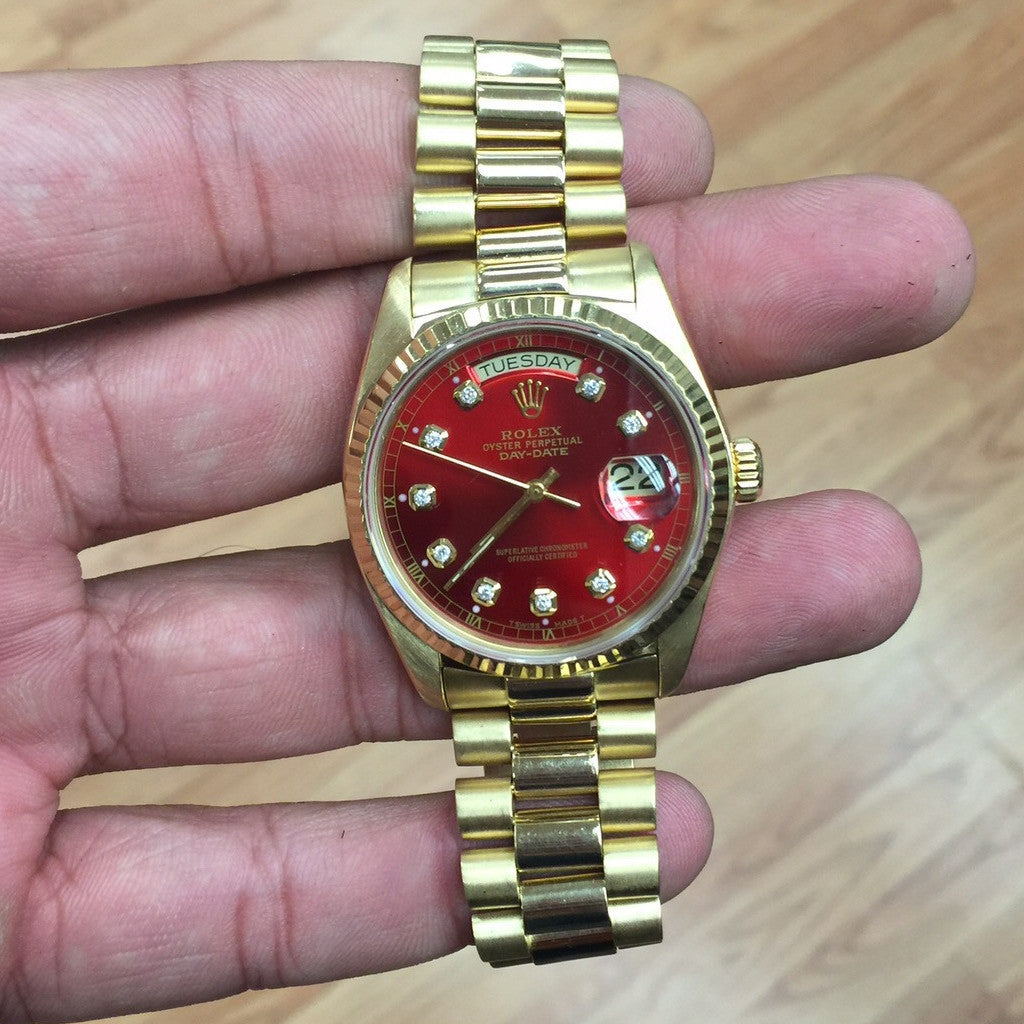 Rolex Day Date 18k Yellow Gold Red Diamond Dial Watch
