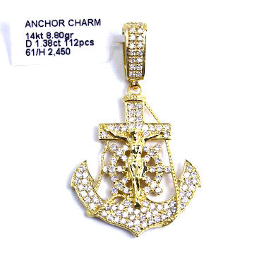 Anchor Crucifix Jesus Cross Pendant 14k Yellow Gold