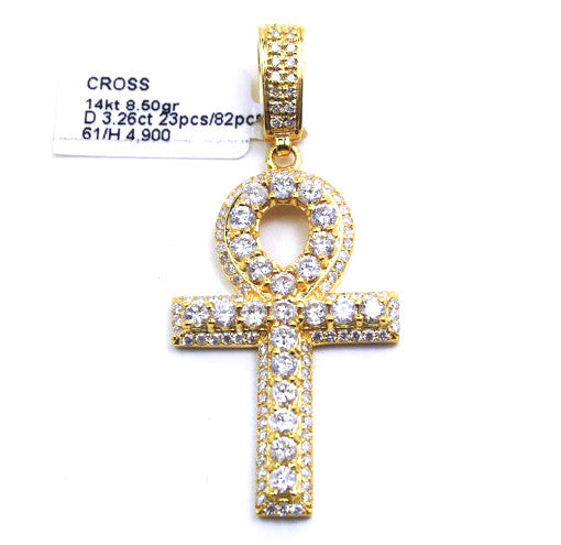 14k Yellow Gold Ankh Diamond Pendant