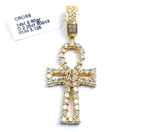 Gucci Mane Style Ankh Pendant 14k Yellow Gold & Diamonds