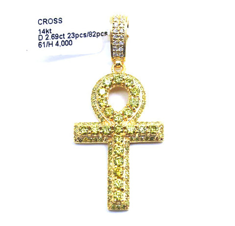 Yellow Diamond Ankh Pendant 14k Yellow Gold