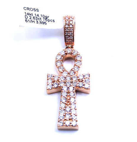 14k Rose Gold Ankh Diamond Pendant