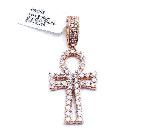 Gucci Mane Style Ankh Pendant 14k Rose Gold & Diamonds
