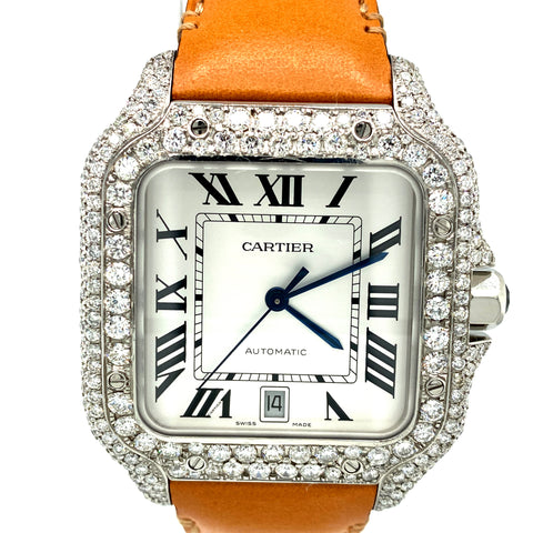 Cartier Santos de Cartier Large White Dial VVS Diamond Watch