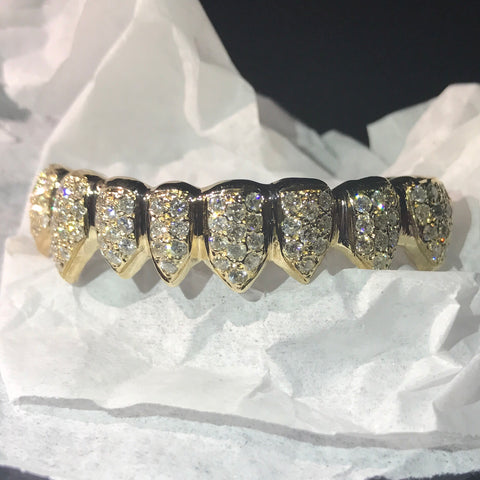 14kt Bottom 8 Pc Grill w/ Prong Set Diamonds