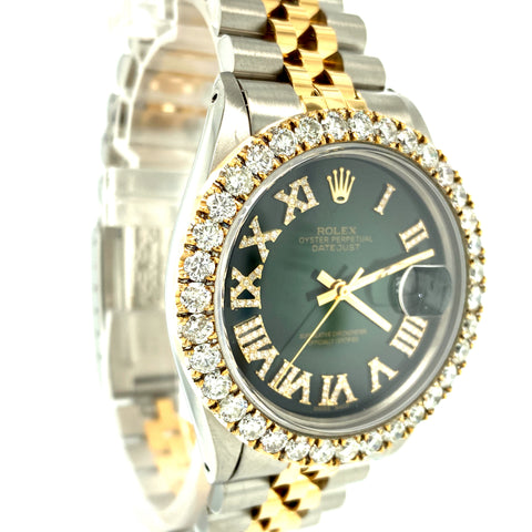Rolex DateJust 16013 Two Tone Green Roman Dial 4.5ctw Diamond Watch
