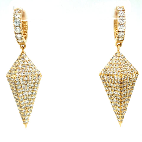 Richie Souf VVS Pyramid Kite Dangle Hoop Earrings 14k