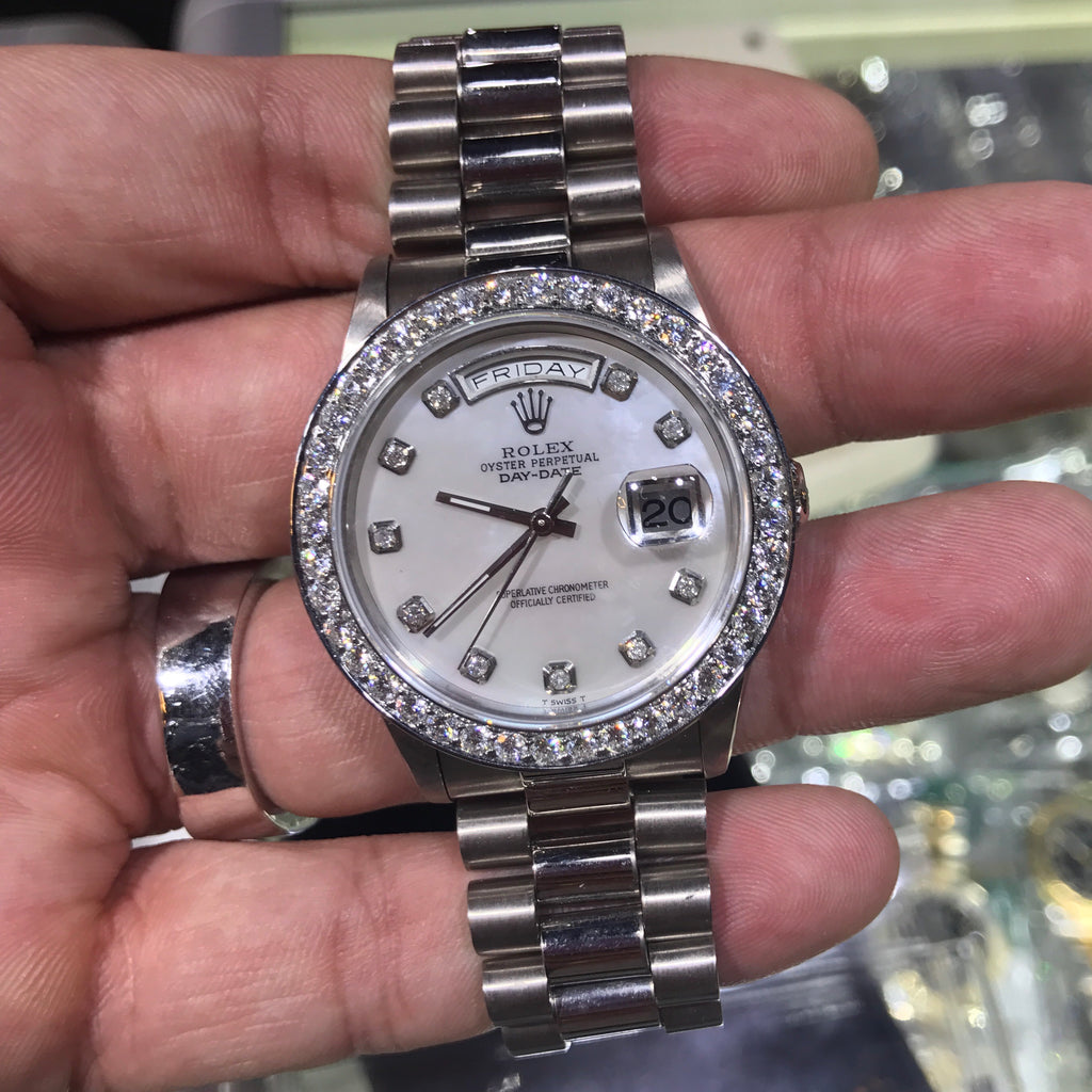 Rolex Day Date 18kt White Gold Watch White MOP 3ctw.