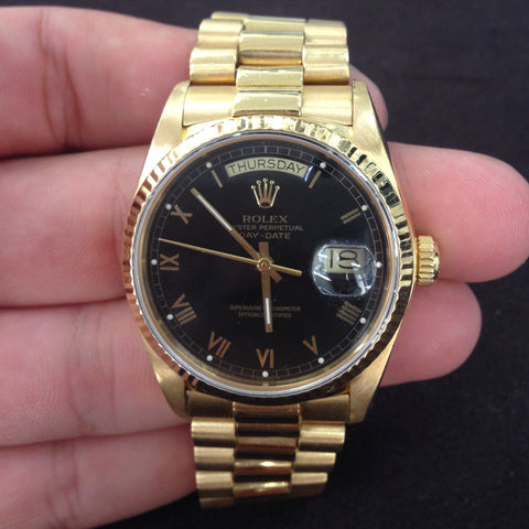 Rolex Day Date Watch Black Roman Numeral 18038
