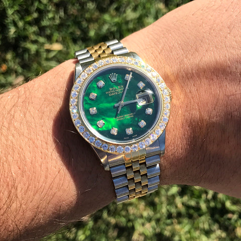 Rolex DateJust 16013 18k/Ss Two Tone Green MOP Dial 2.75ctw Diamond