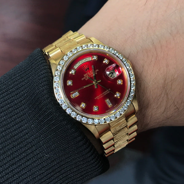 Rolex Day Date President Watch Red Dial Bark Special