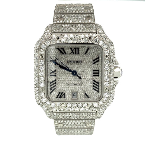 Cartier Santos de Cartier Large Pave Diamond Dial Full VVS Diamond Watch