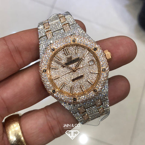 Audemar's Piguet Royal Oak Two Tone Rose Gold / Stainless Steel Diamond Watch